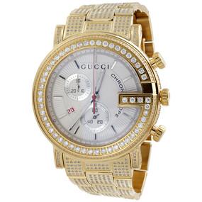 Mens Ya101339 Gucci Diamond Watch 101 G Round Chronograph 44mm White Dial 9 CT.