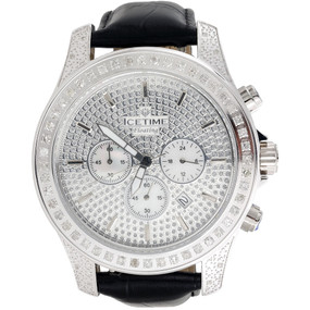 Mens Iced Out Diamond Watch IceTime Iceberg Joe Rodeo Illusion Face 2.50 Ct.
