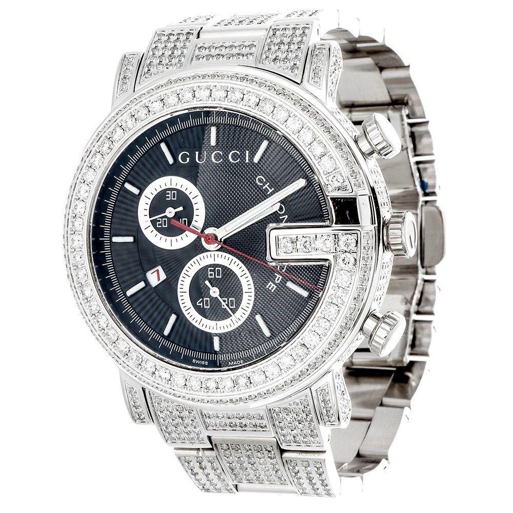 dfa07b1d585 ... Diamond Gucci 44mm Case YA101309 Watch 9.50 Ct New Custom Mens 101 G  Real White. Image 1