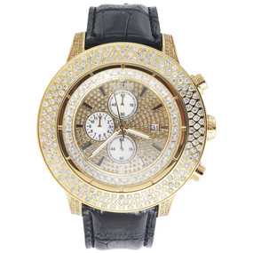 Mens Diamond Watch Fully Iced Side Casing 3 Row IceTime Crown 2 Joe Rodeo 9 Ct.