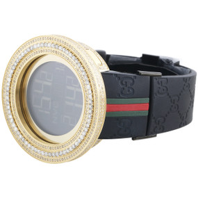 Mens YA114207 I-Gucci Digital White Diamond Watch Yellow Steel Case & Bezel 4 CT