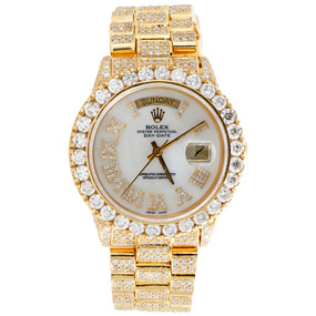 18K Yellow Gold Mens Diamond Rolex Presidential Day-Date 36mm Watch 23.45 CT.