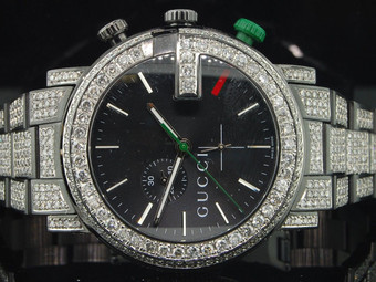 Diamond Gucci Watch Ya101331 Mens 16.50 CT Custom G Chronograph Fully Iced Band