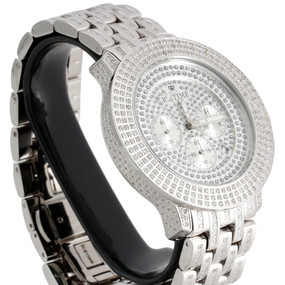 Mens IceTime Diamond Band Watch 3 Row Bezel 48mm Case Illusion Dial Prince 4 CT.