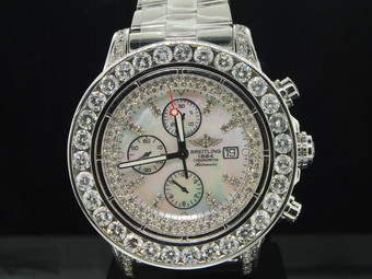 Brand New Mens Breitling Super Avenger 1 Row Big Diamond Custom Watch 22.55 Ct.