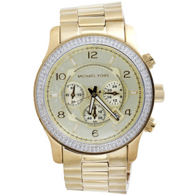 New Michael Kors Gold Tone Mens Diamond Watch MK8077 Runaway Series 45mm 1.5 Ct