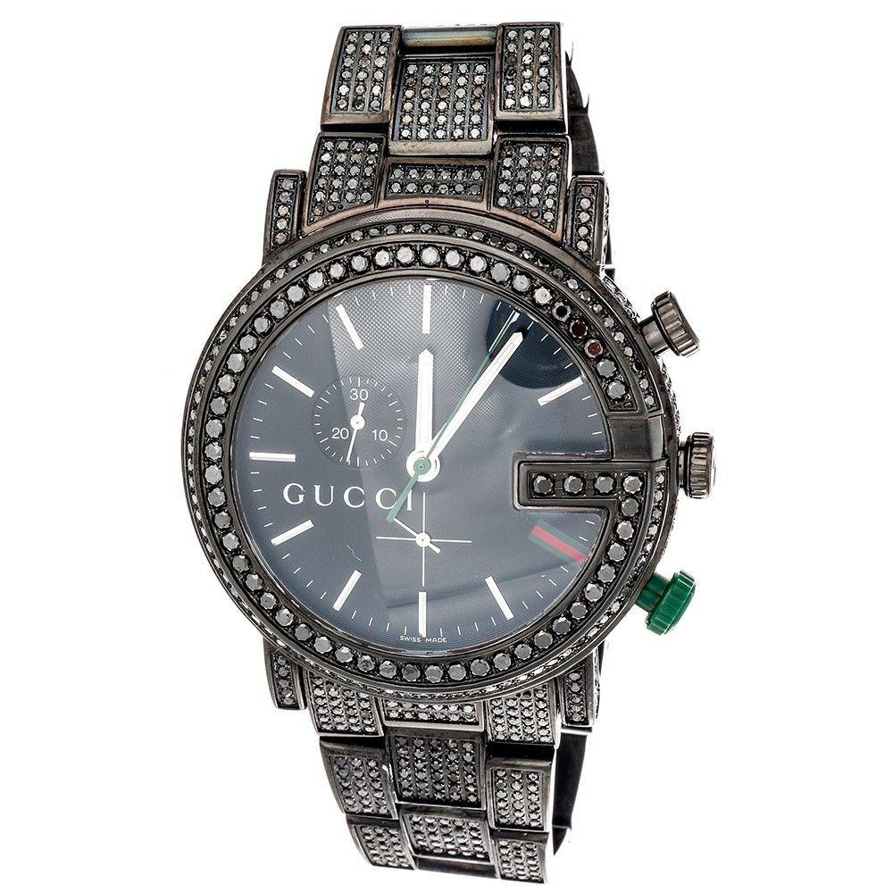 d618c8a7acb ... Mens Custom 101G Black Diamond Gucci Chronograph Watch YA101331 44mm  9.50 CT. Image 1