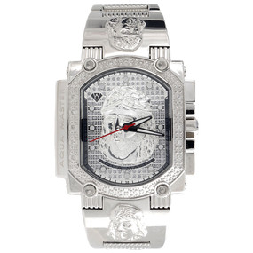 Jesus Face Mens Diamond Watch Aqua Master Jojo Jojino Joe Rodeo 0.16 Ctw W#323-W