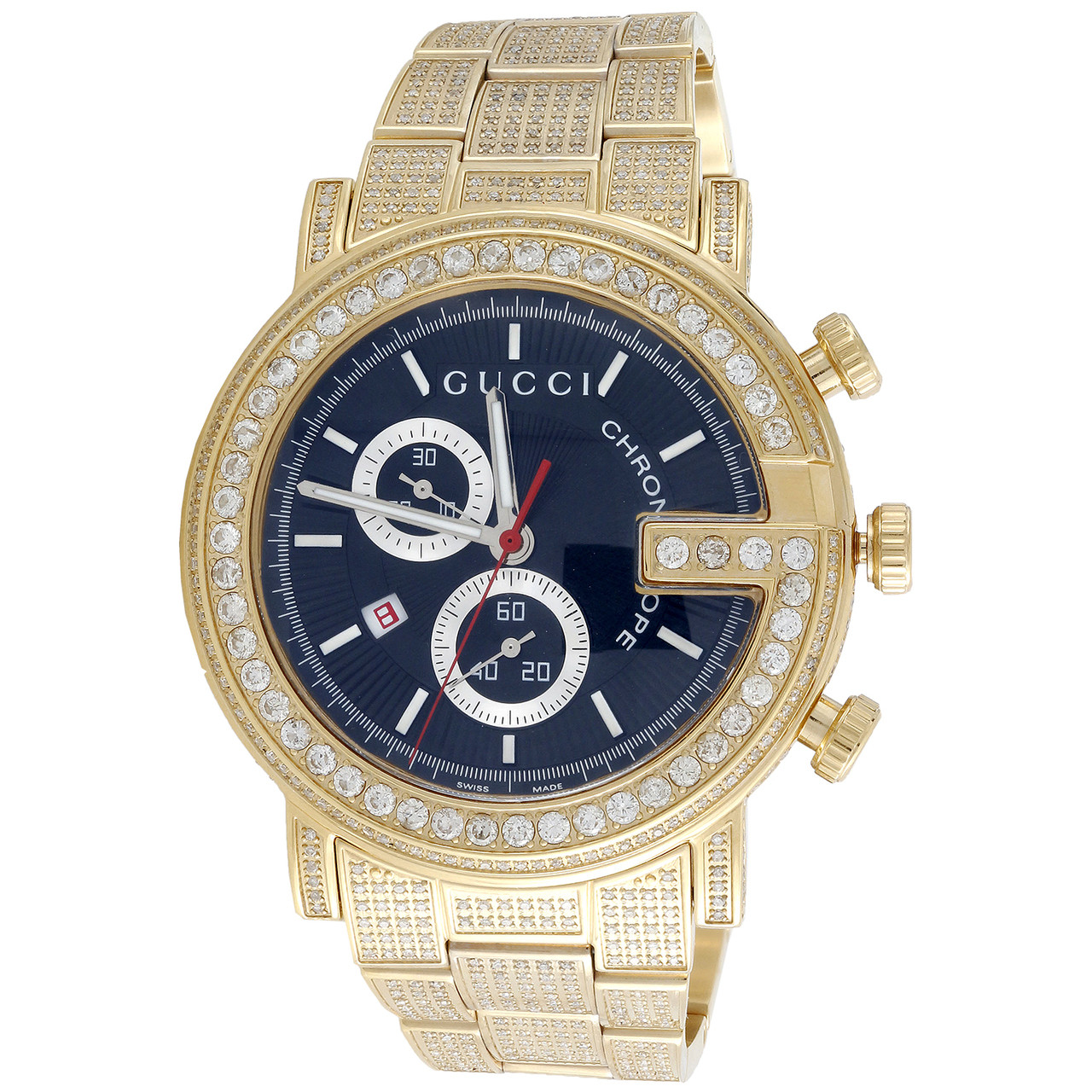 492f0149f45 Diamond Gucci Ya101334 Watch 9.50 Ct New Custom Mens 101 G Gold PVD ...
