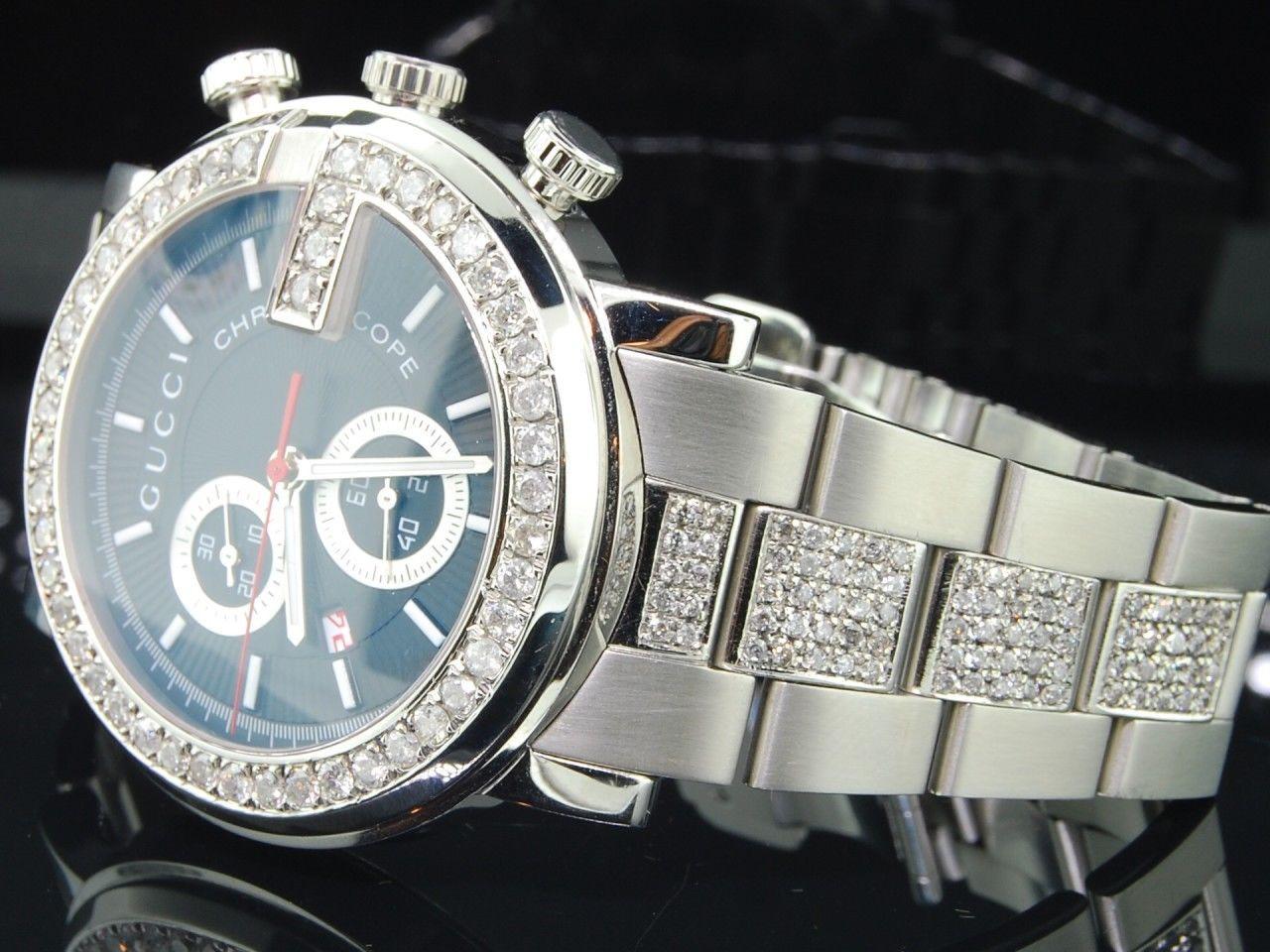 6141fe9b4ff Diamond Gucci Ya101309 G-Watch 6 Ct. Customs Mens 101 G Steel 44mm ...