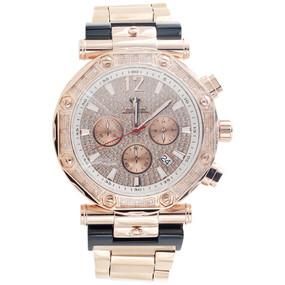 Mens Aqua Master Jojino Diamond Watch 47mm Rose Stainless Steel W#147 0.25 Ct.