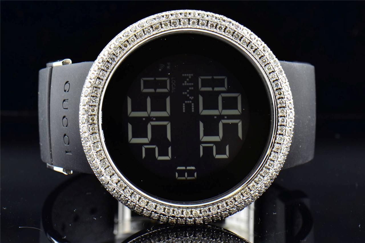 548d42a9ab9 ... Mens Custom made Gucci I Gucci YA114202 Genuine Diamond Watch XL Bezel  12 Ct. Image 1