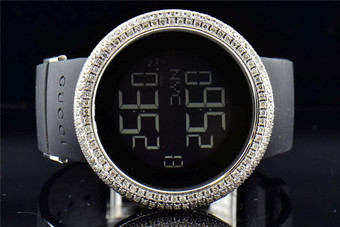 76d41b0b207 Mens Custom made Gucci I Gucci YA114202 Genuine Diamond Watch XL Bezel 12 Ct .
