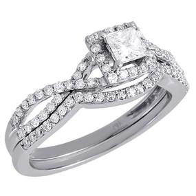 Ladies 14K White Gold Diamond Infinity Engagement Ring Bridal Set 0.66 Ct.