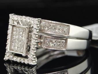 Diamond Square Bridal Set Ladies 10K White Gold Engagement Wedding Ring 0.55 Tcw