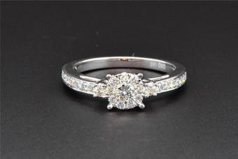 3 Stone Diamond Engagement Ring 14K White Gold Round Cut 1/2 Ct