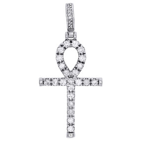 10K White Gold Diamond Ankh Pendant Mens Round Cut Egyptian Cross Charm 2.50 Ct.