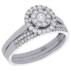 10K White Gold Diamond 3 Piece Flower & Halo Engagement Ring Bridal Set 1/2 Ct.