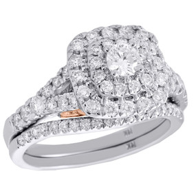 14K White Gold Round Solitaire Diamond Wedding Ring Cushion Halo Bridal Set 1 CT
