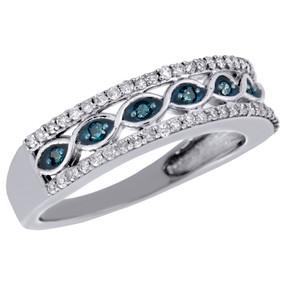10K White Gold Blue Diamond Wedding Band Infinity Love Anniversary Ring 0.33 CT.