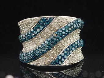 Ladies 10K White Gold Blue & White Diamond Engagement Ring Wedding Band 2.05 Ct.