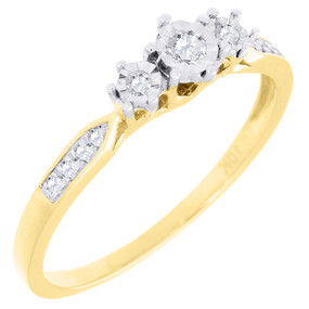 3 Stone Diamond Promise Engagement Wedding Ring Ladies 10K Yellow Gold 1/10 Ct.