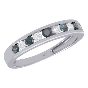 10K White Gold Blue Diamond Wedding Band 2.95mm Ladies Anniversary Ring 0.53 Ct.