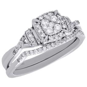 10K White Gold Diamond Bridal Set Ladies Infinity Flower Engagement Ring 0.44 Ct