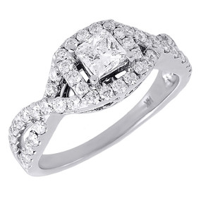 Diamond Solitaire Engagement Ring Ladies 14K White Gold Princess Cut Halo 1 Tcw.