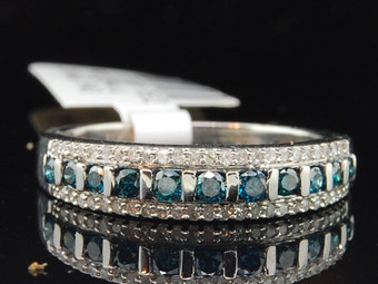 Ladies 10K White Gold Blue Diamond Engagement Ring Designer Wedding Band Bridal