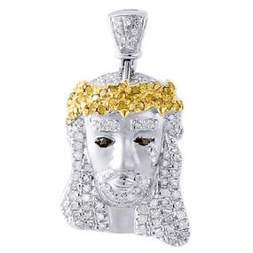 10k White Gold Diamond Pendant Tear Drop Mini Jesus Head Piece 3D Charm 0.50 Ct.