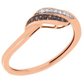 10K Rose Gold Red Diamond Ladies Swirl Fashion Ring Anniversary Band 0.05 Ct.