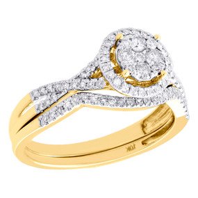 10K Yellow Gold Diamond Bridal Set Circle Engagement Ring + Wedding Band 0.50 CT