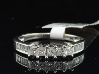 Diamond Engagement Ring Wedding Band 14K White Gold 5 Stone Princess Cut 1/2 Ct