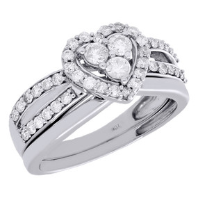10K White Gold Diamond Heart Engagement Ring Wedding Band Bridal Set 0.75 Ct.