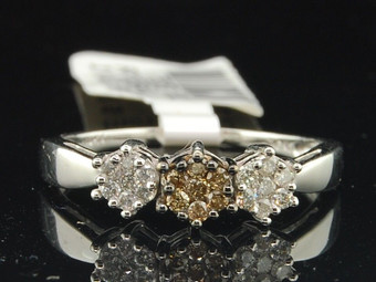 10k White Gold Brown Diamond Three Stone Wedding Band Engagement Ring 0.24 Ct.