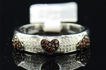 Red Diamond Heart Wedding Band Ladies 10K White Gold Round Pave Anniversary Ring