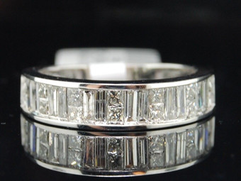 Princess & Baguette Cut Diamond Wedding Band 14K White Gold Ladies Ring 1 CT
