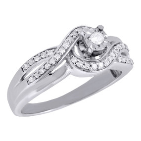 10K White Gold Round Cut Infinity Wedding Diamond Engagement Bridal Ring 0.20 Ct