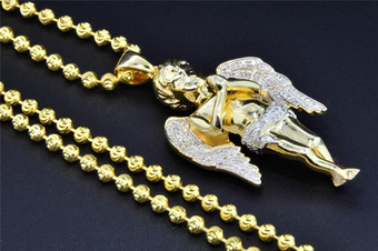 .925 Sterling Silver Mini Angel Cherub Real Diamond Pendant with Moon Cut Chain