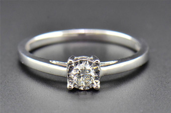 Round Diamond Solitaire Engagement Ring Ladies Promise 10K White Gold 0.15 Ct
