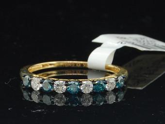 Ladies 10K Yellow Gold Blue Diamond Engagement Ring Wedding Band 0.48 Ct.