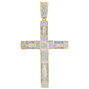 "10K Yellow Gold Genuine Diamond Cross Pendant 3"" Mens Domed Pave Charm 1 ct."