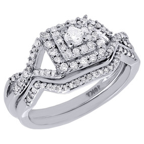 10K White Gold Genuine Round Solitaire Diamond Wedding Bridal Ring Set 1/2 Ct.