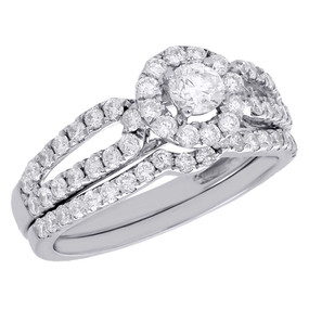 14K White Gold Solitaire Diamond Bridal Set Engagement Ring Wedding Band 1 Ct.