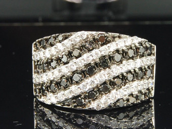 10K LADIES WHITE GOLD 1.23 CT ROUND BLACK DIAMOND ENGAGEMENT RING WEDDING BAND