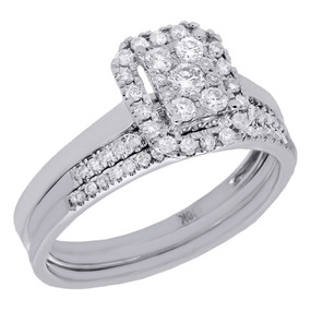 10K White Gold Diamond 3 Piece Rectangle Halo Engagement Ring Bridal Set 1/2 Ct