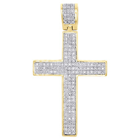 "10K Yellow Gold Genuine Diamond Cross Domed Pendant 1.75"" Pave Charm 3/4 CT."