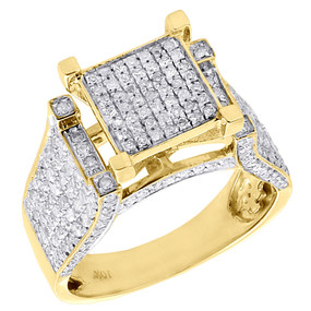 10K Yellow Gold Ladies Natural Diamond Wedding Engagement Pave Ring 1.05 Ct.