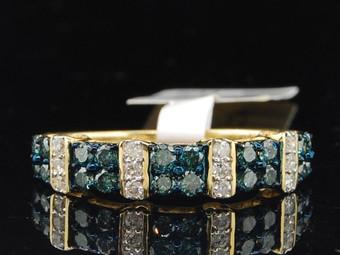 Ladies 10K Yellow Gold Blue Diamond Engagement Ring Designer Wedding Band Bridal